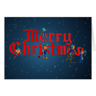 MERRY CHRISTMAS ELVES and STARS by SHARON SHARPE Card