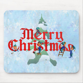 MERRY CHRISTMAS ELVES by SHARON SHARPE Mouse Mats