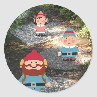 Merry Christmas Elves Classic Round Sticker
