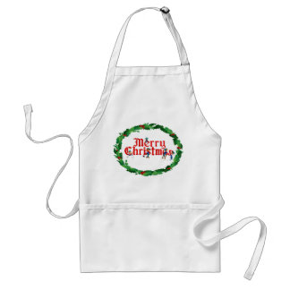 MERRY CHRISTMAS ELVES & HOLLY by SHARON SHARPE Adult Apron