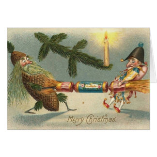 Merry Christmas Elves Playing Greeting Card