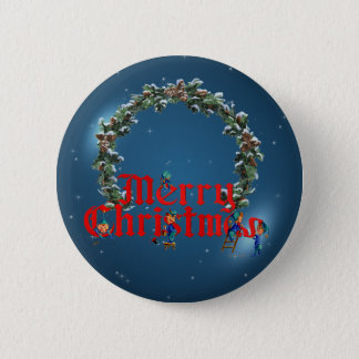 MERRY CHRISTMAS ELVES & STARS by SHARON SHARPE Button