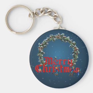 MERRY CHRISTMAS ELVES & STARS by SHARON SHARPE Keychain