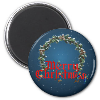MERRY CHRISTMAS ELVES & STARS by SHARON SHARPE Magnet