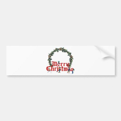 MERRY CHRISTMAS ELVES & WREATH by SHARON SHARPE Car Bumper Sticker