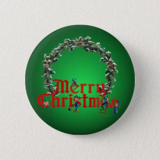 MERRY CHRISTMAS ELVES & WREATH by SHARON SHARPE Button