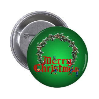 MERRY CHRISTMAS ELVES & WREATH by SHARON SHARPE 2 Inch Round Button