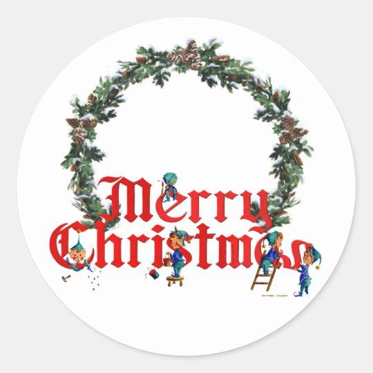 MERRY CHRISTMAS ELVES & WREATH by SHARON SHARPE Classic Round Sticker