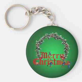 MERRY CHRISTMAS ELVES & WREATH by SHARON SHARPE Keychain