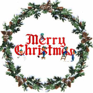 MERRY CHRISTMAS ELVES & WREATH by SHARON SHARPE Photo Sculpture