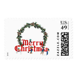 MERRY CHRISTMAS ELVES & WREATH by SHARON SHARPE Stamp