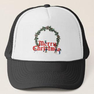 MERRY CHRISTMAS ELVES & WREATH by SHARON SHARPE Trucker Hat