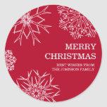 Merry Christmas Envelope Seals - Red Classic Round Sticker