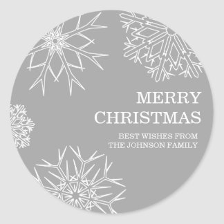 Merry Christmas Envelope Seals - Silver Stickers