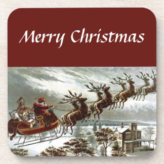 Merry Christmas Eve Vintage Santa Sleigh Reindeer Coaster