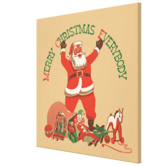 Merry Christmas Everybody! Vintage Santa Claus Canvas Print