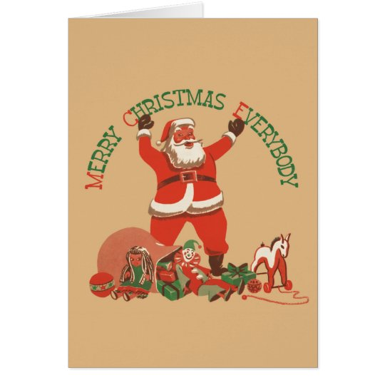 Merry Christmas Everybody! Vintage Santa Claus Card