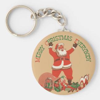 Merry Christmas Everybody! Vintage Santa Claus Keychain