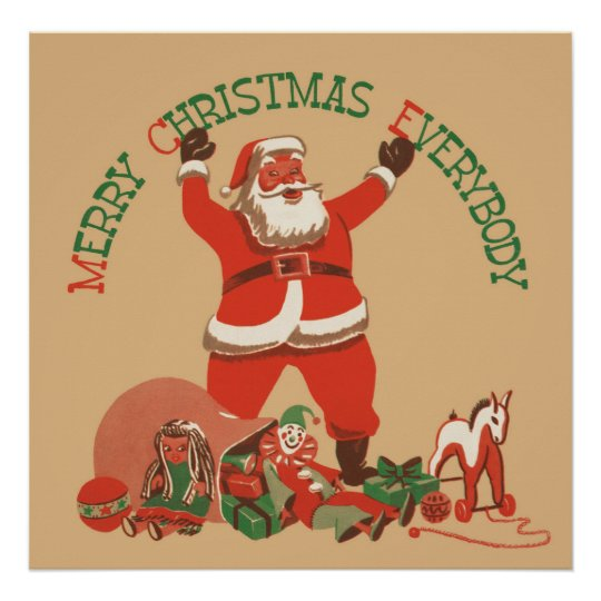Vintage Merry Christmas.Merry Christmas Everybody Vintage Santa Claus Poster