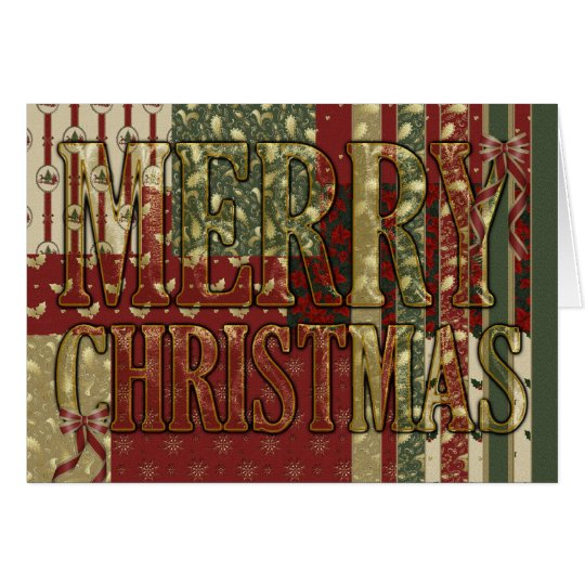 Merry Christmas Fabric Pattern Card