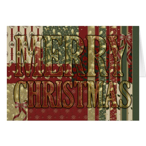 Merry Christmas Fabric Pattern Greeting Cards