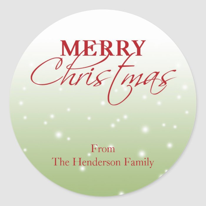 Merry Christmas falling snow name holiday gift tag Classic Round Sticker