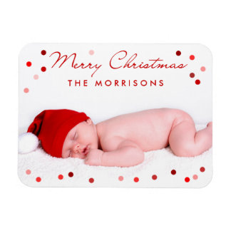 Merry Christmas Family Baby with Red Dots Magnet