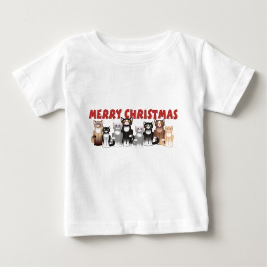 Merry Christmas Family Cats Baby T-Shirt