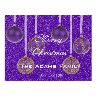 Merry Christmas Family December 2016 Bauble Purple Postcard