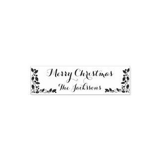 Merry Christmas Family name and Christmas decor Self-inking Stamp