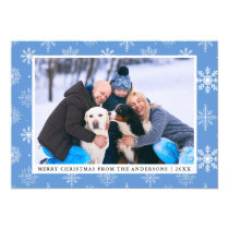 Merry Christmas Family Photo Blue Snowflakes Card