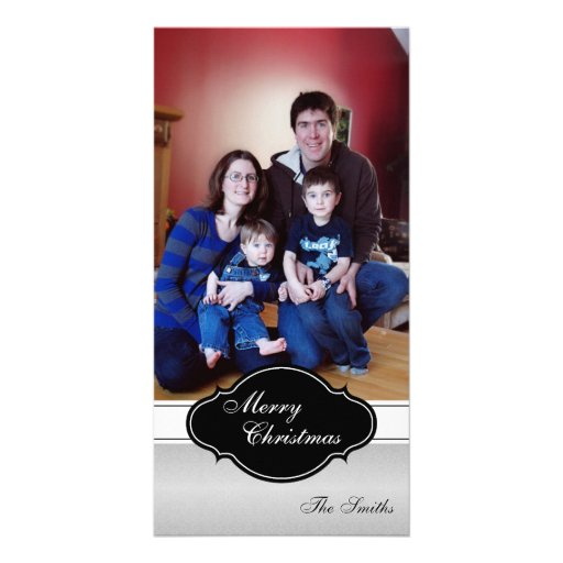 Merry Christmas Family Photo Card - Silver Plaque