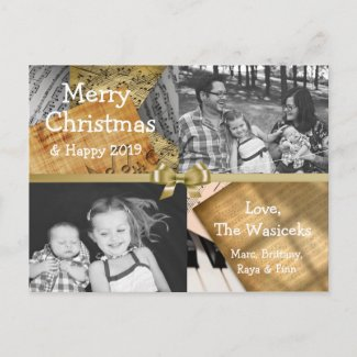Merry Christmas Family Photo Gold Bow Musical Note Holiday Postcard