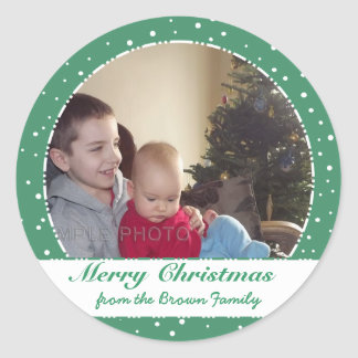 Merry Christmas Family Photo Green Circle Stickers