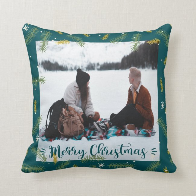 Merry Christmas Family Photo Green Frame Throw Pillow