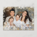 """Merry Christmas Family Photo Postcard<br><div class=""""desc"""">Photo family design features a white and gold winter frame over your own photo. All text is customizable - just go to """"personalize"""" to type your own event information over the sample text. To access advanced editing tools, please go to """"Personalize"""", scroll down and press the """"click to customize further""""...</div>"""