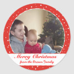 Merry Christmas Family Photo Red Circle Stickers