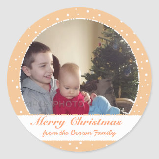 Merry Christmas Family Photo Sandy Circle Stickers