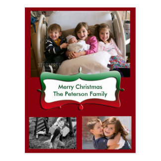 Merry Christmas Family Photos Postcard