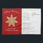 """Merry Christmas Family Recipe Hand Towel<br><div class=""""desc"""">Merry Christmas Gingerbread Family Recipe Kitchen Towel. Great Gingerbread Recipe Template. Keep the sweet gingerbread star or replace with your own photo/image. Customize the text with your family&#39;s favorite gingerbread recipe and a special greeting or message. Find mason jars, postcards, matching stickers, labels, tags and more in our Zazzle store,...</div>"""
