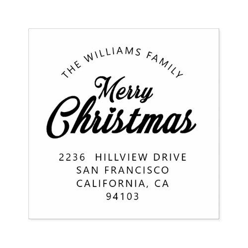 Merry Christmas Family Return Address Rubber Stamp