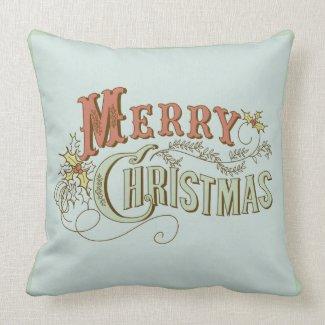 Merry Christmas Fancy Text Design 2 Throw Pillow