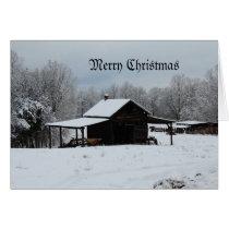 Merry Christmas farm in snow Card
