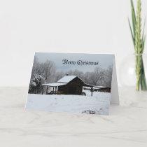 Merry Christmas farm in snow Holiday Card