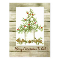 Merry Christmas Farmhouse Tree Woodgrain Postcard