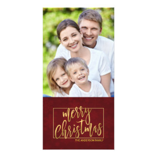 Merry Christmas Faux Gold Foil Hand-Lettered Photo Card