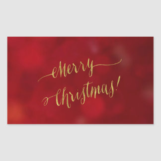 Merry Christmas Faux Gold Foil Holiday Greeting Rectangular Sticker