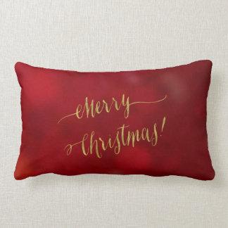 Merry Christmas Faux Gold Foil Red Bokeh Script Lumbar Pillow