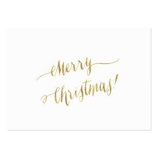 Merry Christmas Faux Gold Foil Script Lettering Large Business Card