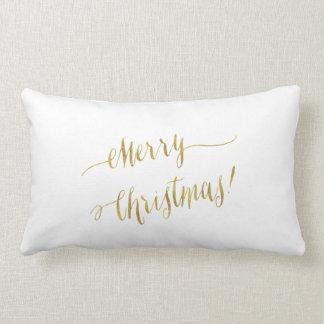Merry Christmas Faux Gold Foil Script Lettering Lumbar Pillow